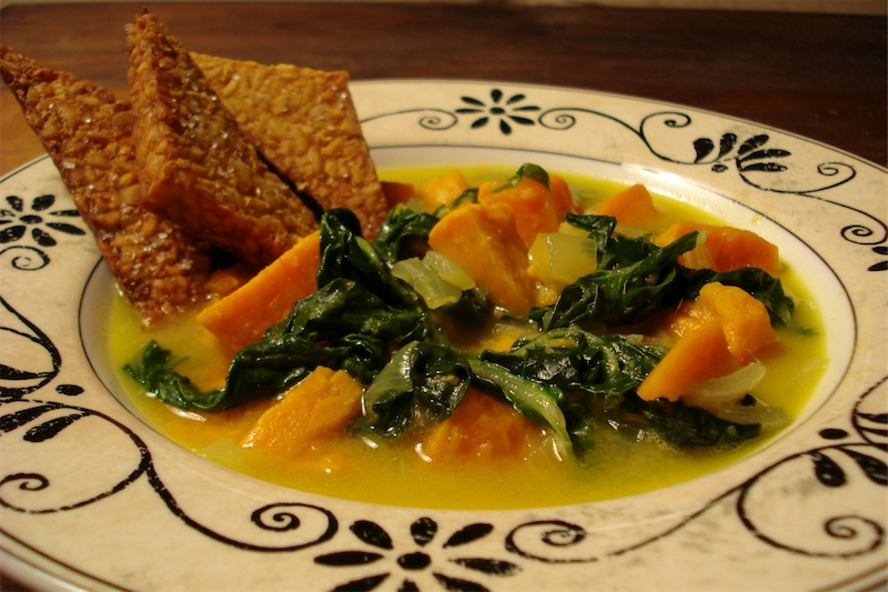 Coconut Sweet Potato Soup w/ Greens