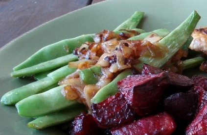 Pole Beans w/ Caramelized Onions