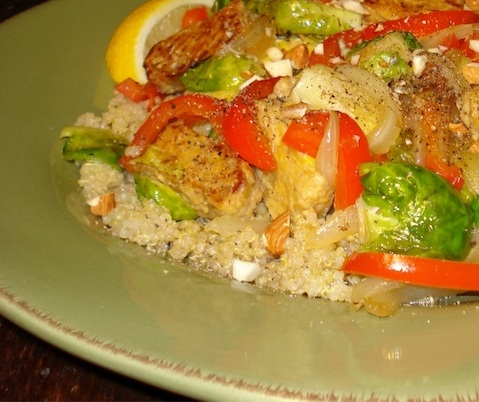 Quinoa w/ Brussels Sprouts, Tempeh & Toasted Almonds