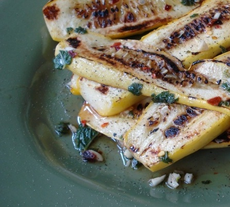 Pan-Seared Summer Squash w/ Garlic & Mint