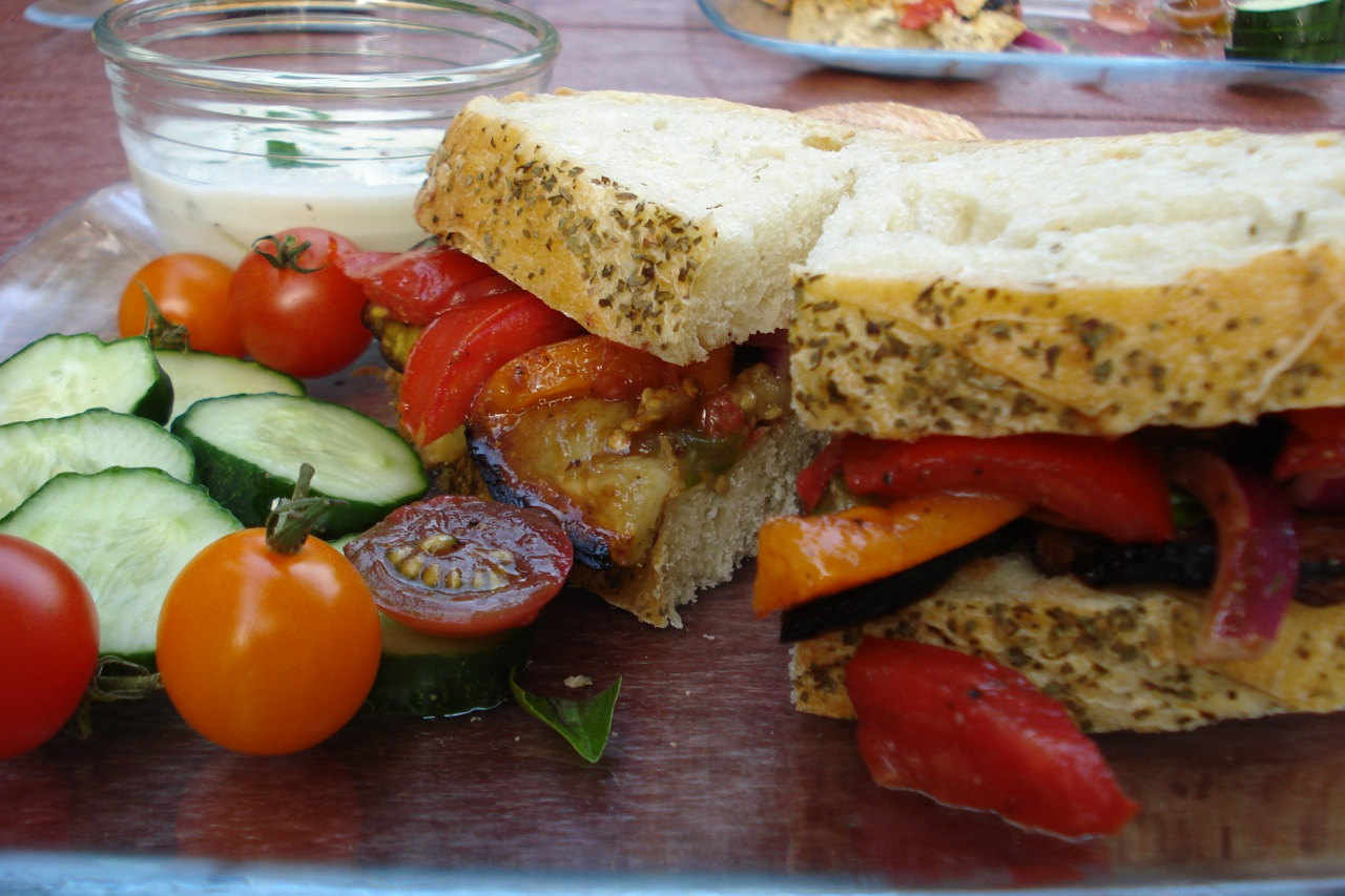 Roasted Eggplant & Tomato Salad Sandwich