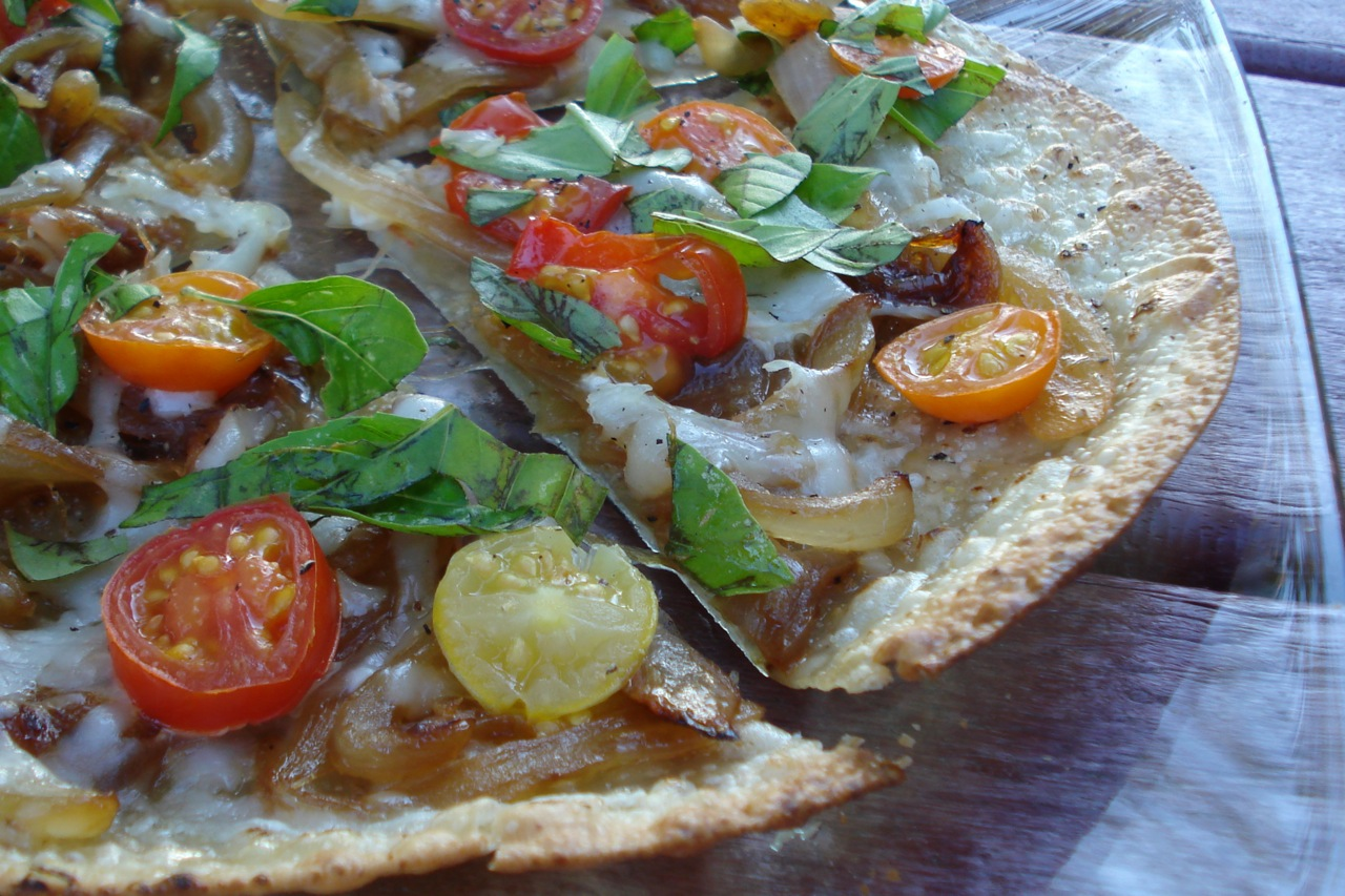 Tortilla Pizza w/ Caramelized Onions
