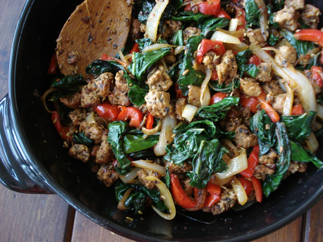 Sausage (Tempeh) & Peppers w/ Greens