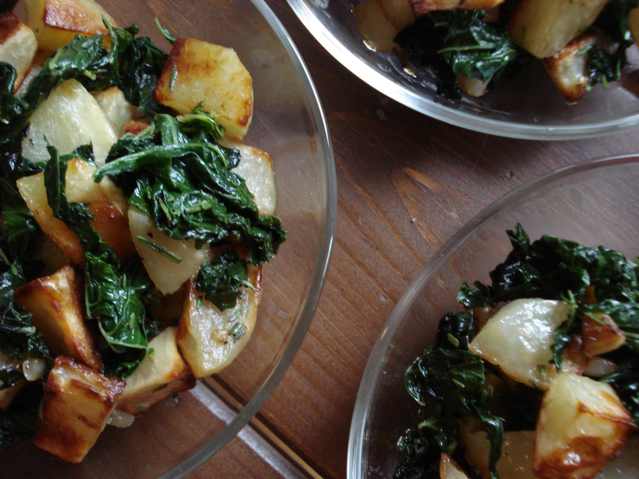 Potatoes w/ Swiss Chard, Rosemary & Garlic